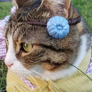 40s-50s Blue Celluloid Chrysanthemum Earrings